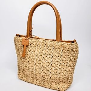 Fossil Straw Woven Mini Purse w/ Wooden Key Accent